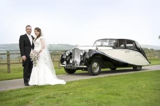 1952 Bentley with happy couple - splendid wedding transport